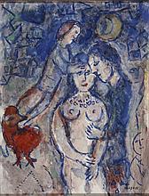 ¤ Marc CHAGALL (Vitebsk, 1887 - Saint-Paul-de-Vence, 1985) BENEDICTION DU COUPLE, 1980-1982 Tempera sur Isorel
