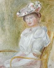 Pierre-Auguste RENOIR (Limoges, 1841 - Cagnes-sur-Mer, 1919) JEUNE FEMME ASSISE, 1898 Huile sur toile
