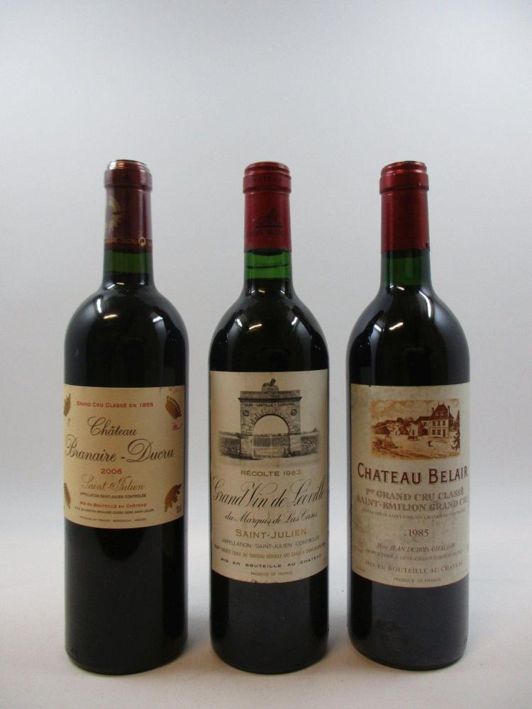 3 bouteilles 1 bt : CHÂTEAU BRANAIRE DUCRU 2006 (étiquette léger abimée)1 bt : CHÂTEAU LEOVILLE LAS CASES 1983 (étiquette léger abim...