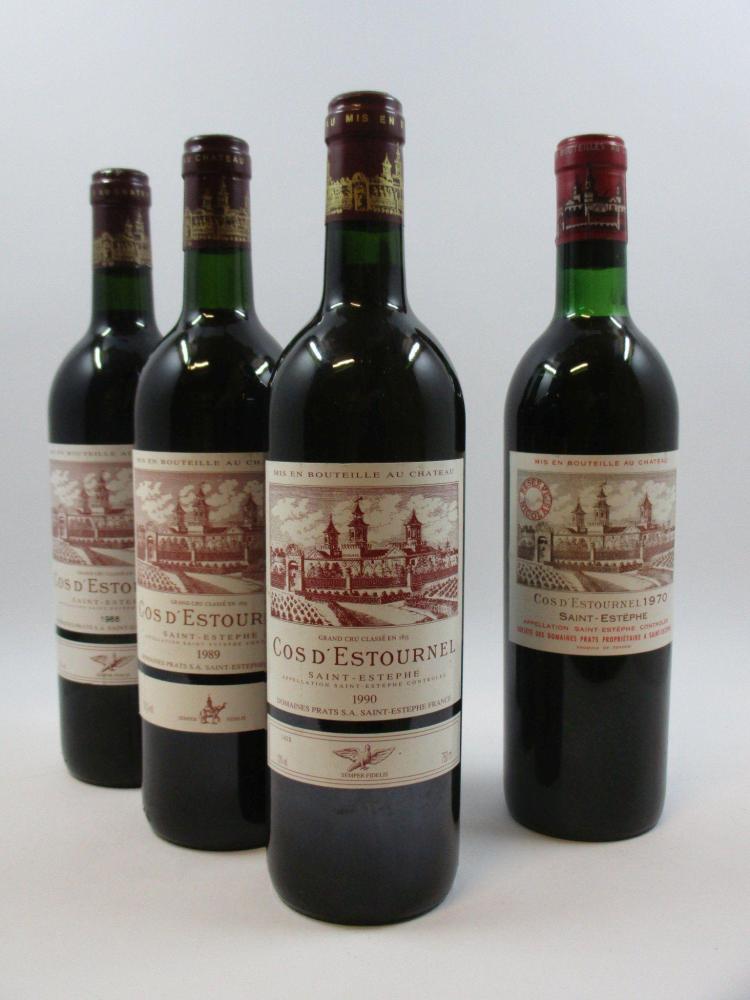 4 bouteilles 1 bt : CHÂTEAU COS D'ESTOURNEL 1970 2è GC Saint Estèphe (légèrement bas, tampon réserve Nicolas)1 bt : CHÂTEAU COS D'ES.