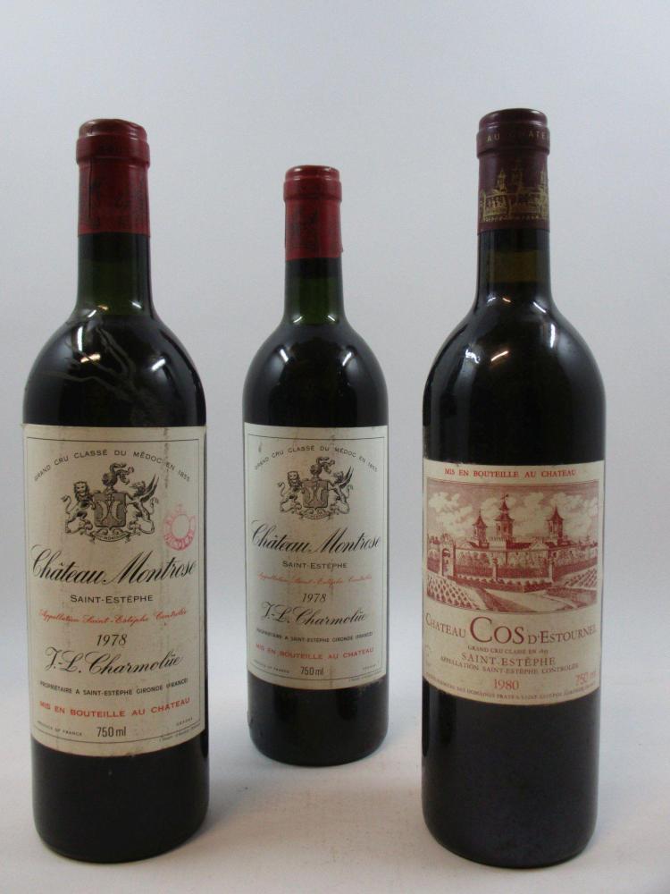 3 bouteilles 1 bt : CHÂTEAU COS D'ESTOURNEL 1980 2è GC Saint Estèphe (étiquette léger abimée)2 bts : CHÂTEAU MONTROSE 1978 2è GC Sai..