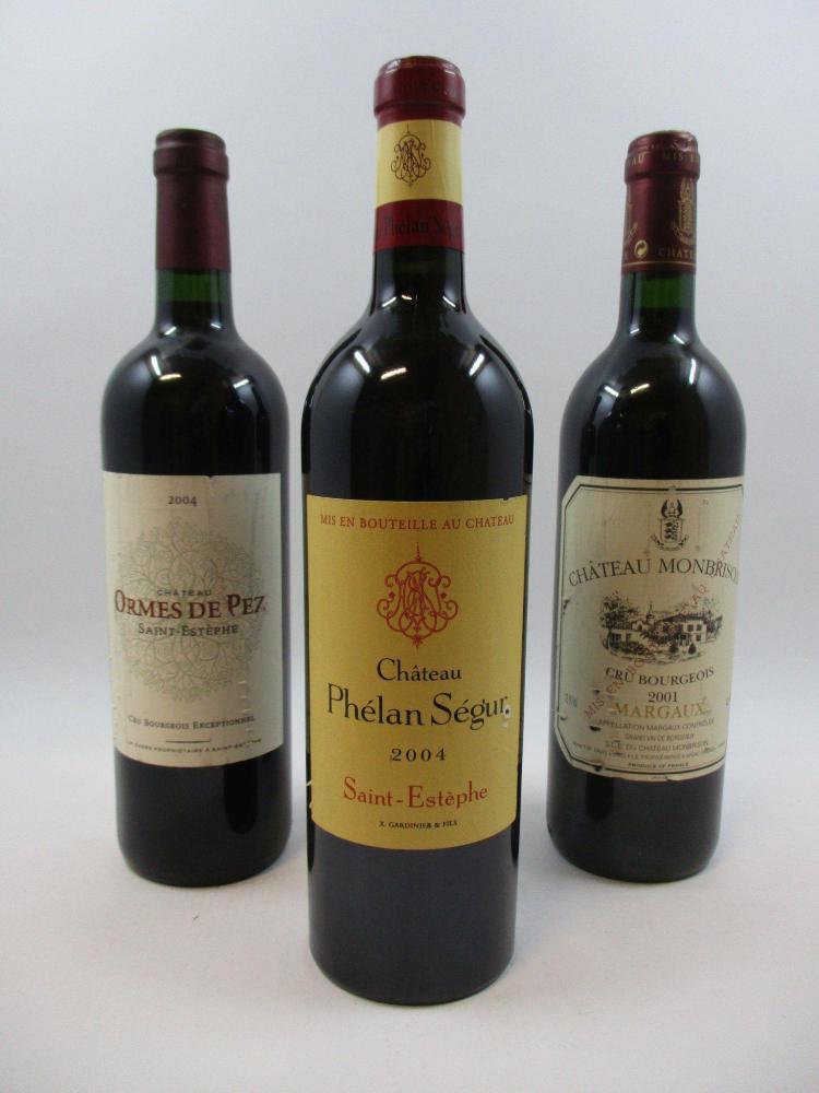 3 bouteilles 1 bt : CHÂTEAU LES ORMES DE PEZ 2004 Saint Estèphe (étiquette griffée)1 bt : CHÂTEAU PHELAN SEGUR 2004 Saint Estèphe (é...