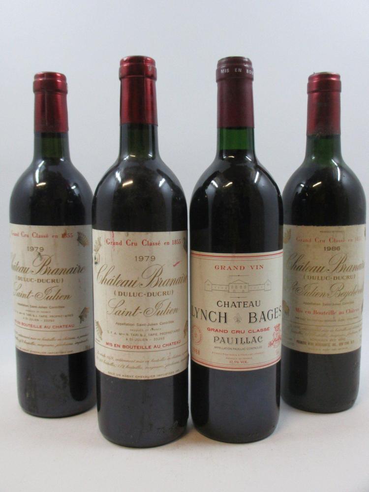 4 bouteilles 1 bt : CHÂTEAU LYNCH BAGES 1988 5è GC Pauillac (étiquette léger tachée)1 bt : CHÂTEAU BRANAIRE DUCRU 1986 4è GC Saint J...