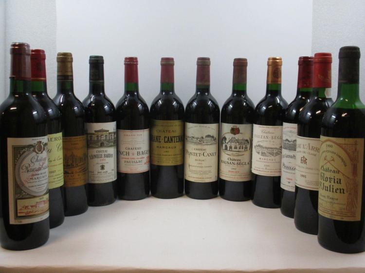 12 bouteilles 1 bt : CHÂTEAU LYNCH BAGES 1993 5è GC Pauillac (étiquette griffée)1 bt : CHÂTEAU LEOVILLE BARTON 1995 2è GC Saint Juli...