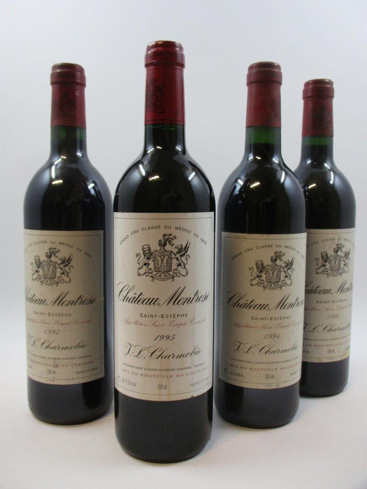 7 bouteilles 1 bt : CHÂTEAU MONTROSE 1995 2è GC Saint Estèphe (étiquette léger tachée)6 bts : CHÂTEAU MONTROSE 1994 2è GC Saint Estè...