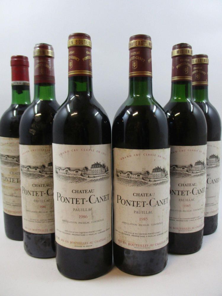 6 bouteilles 1 bt : CHÂTEAU PONTET CANET 1975 5è GC Pauillac (base goulot. Etiquette abimée)1 bt : CHÂTEAU PONTET CANET 1981 5è GC P...