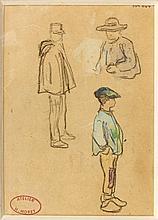 Henry MORET (Cherbourg, 1856 - Paris, 1913) JEUNES BRETONS ET DOUANIERS - JEUNES BRETONS DE DOS Aquarelle et fusain sur papier (rect...
