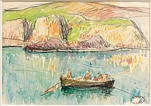 Henry MORET (Cherbourg, 1856 - Paris, 1913) PÊCHEURS EN BARQUE A DOËLAN Aquarelle et fusain sur papier