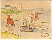 Henry MORET (Cherbourg, 1856 - Paris, 1913) BARQUES DE PECHES A DOËLAN Crayon et aquarelle sur papier