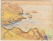 Henry MORET (Cherbourg, 1856 - Paris, 1913) POINTE DE PENHARN aquarelle et fusain sur papier
