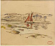 Henry MORET (Cherbourg, 1856 - Paris, 1913) VOILIER SUR L'ODET PRES DE QUIMPER Aquarelle et fusain sur papier