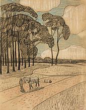 Henry MORET (Cherbourg, 1856 - Paris, 1913) LE ROULAGE AU POULDU Fusain, pastel et rehauts de craie blanche sur papier