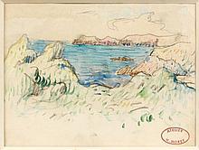 Henry MORET (Cherbourg, 1856 - Paris, 1913) LA COTE SAUVAGE, BRETAGNE Aquarelle et fusain sur papier