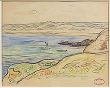 Henry MORET (Cherbourg, 1856 - Paris, 1913) VUE D'UNE BAIE, BRETAGNE Aquarelle et fusain sur papier