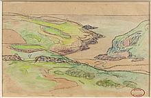 Henry MORET (Cherbourg, 1856 - Paris, 1913) PORT-BALI, 1907 Aquarelle et fusain sur papier