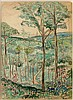 Henry MORET (Cherbourg, 1856 - Paris, 1913) VALLEE DE LA BIEVRE, 1906 Aquarelle et fusain sur papier