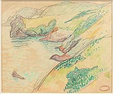 Henry MORET (Cherbourg, 1856 - Paris, 1913) FALAISES AU-DESSUS DE LA MER Aquarelle et fusain sur papier