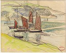 Henry MORET (Cherbourg, 1856 - Paris, 1913) VOILIERS Aquarelle et fusain sur papier