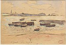 Henry MORET (Cherbourg, 1856 - Paris, 1913) LE PORT DE SAINT-GUENOLE, PRESQU'ILE DE PEN Aquarelle et fusain sur papier