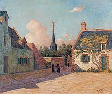 Ferdinand du PUIGAUDEAU (Nantes, 1864 - Le Croisic, 1930) PLACE DU VILLAGE EN BRETAGNE Huile sur toile
