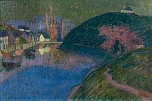 Emile JOURDAN (Vannes, 1860 - Quimperlé, 1931) LE PORT DE PONT-AVEN, 1891 Huile sur toile