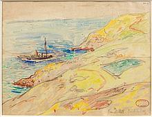 Henry MORET (Cherbourg, 1856 - Paris, 1913) LA POINTE DE FEUNTEUNOD, PRES DE LA POINTE DU RAZ Aquarelle et fusain sur papier