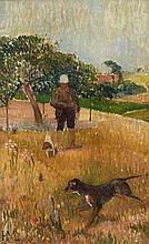 Henry MORET (Cherbourg, 1856 - Paris, 1913) LE CHASSEUR Huile sur panneau parqueté