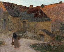 Henri MARTIN (Toulouse, 1860 - Labastide-du-Vert, 1943) SOLEIL COUCHANT SUR LA PETITE FERME DU LOT, circa 1898 Huile sur toile