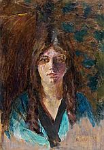 Pierre BONNARD (Fontenay-aux-roses, 1867 - Le Cannet, 1947) FIGURE DE JEUNE FEMME (MADAME LUCIENNE DUPUY DE FRENELLE), circa 1917 Hu...