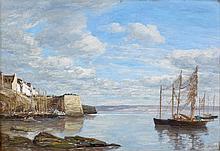 Eugène BOUDIN (Honfleur, 1824 - Deauville,1898) BRETAGNE, RIVAGE ET PORT, circa 1854-1857 Huile sur panneau