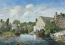 ¤ Eugène BOUDIN (Honfleur, 1824 - Deauville,1898) UN MOULIN A PONT-AVEN, MAI 1897 Huile sur toile