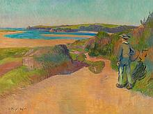 Jean PEGOT-OGIER (Salamanque, 1877 - Moulin-sous-Touvent, 1915) BRETON A LA PLAGE Huile sur toile