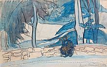 Emile BERNARD (Lille, 1868 - Paris, 1941) BRETONNE ASSISE SUR MUR, 1886 Aquarelle et crayon sur papier