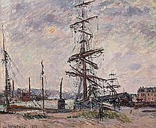 Gustave LOISEAU (Paris, 1865- Paris, 1935) LE HAVRE, BATEAUX DANS LE PORT, 1912 Huile sur toile