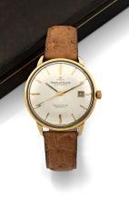 JAEGER LECOULTRE CHRONOMETRE GEOMATIC, n° 1015509, vers 1966 Belle montre bracelet en or 18K (750). Boîtier rond. Fond vissé éta...