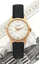 JAEGER LECOULTRE CHRONOMETRE GEOPHYSIC, réf. E168, n° 143488, vers 1958 Rare montre bracelet en or rose 18K (750). Boîtier rond....