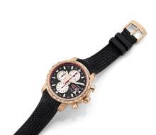 CHOPARD MILLE MIGLIA GMT, LIMITED EDITION, n° 184/250, vers 2012 Beau chronographe bracelet en or rose 18K (750). Boîtier rond....