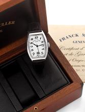 FRANCK MULLER CASABLANCA, vers 2013 Belle montre bracelet en acier. Boîtier tonneau curvex. Cadran blanc avec chiffres arabes pe...