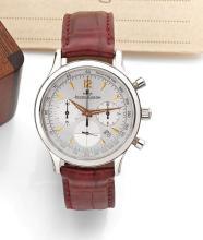 JAEGER LECOULTRE MASTER CHRONO, vers 2000 Chronographe bracelet en acier. Boîtier rond. Cadran argent avec deux compteurs, dateu...