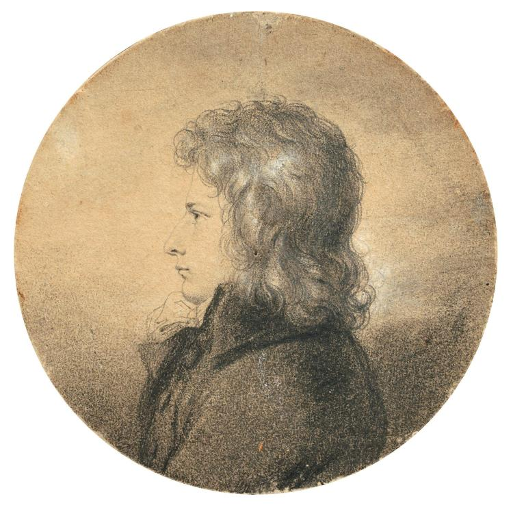 Anne-Louis Girodet-Trioson Montargis, 1767 - Paris, 1824 Portrait du baron Gérard Crayon noir, estompe et rehauts de blanc, de forme...