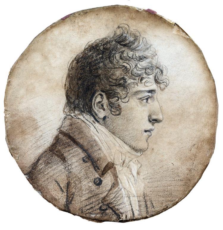 Jean-Baptiste Isabey Nancy, 1767 - Paris, 1855 Portrait présumé d''Alexandre Gérard, frère du baron Gérard Crayon noir, lavis brun et..