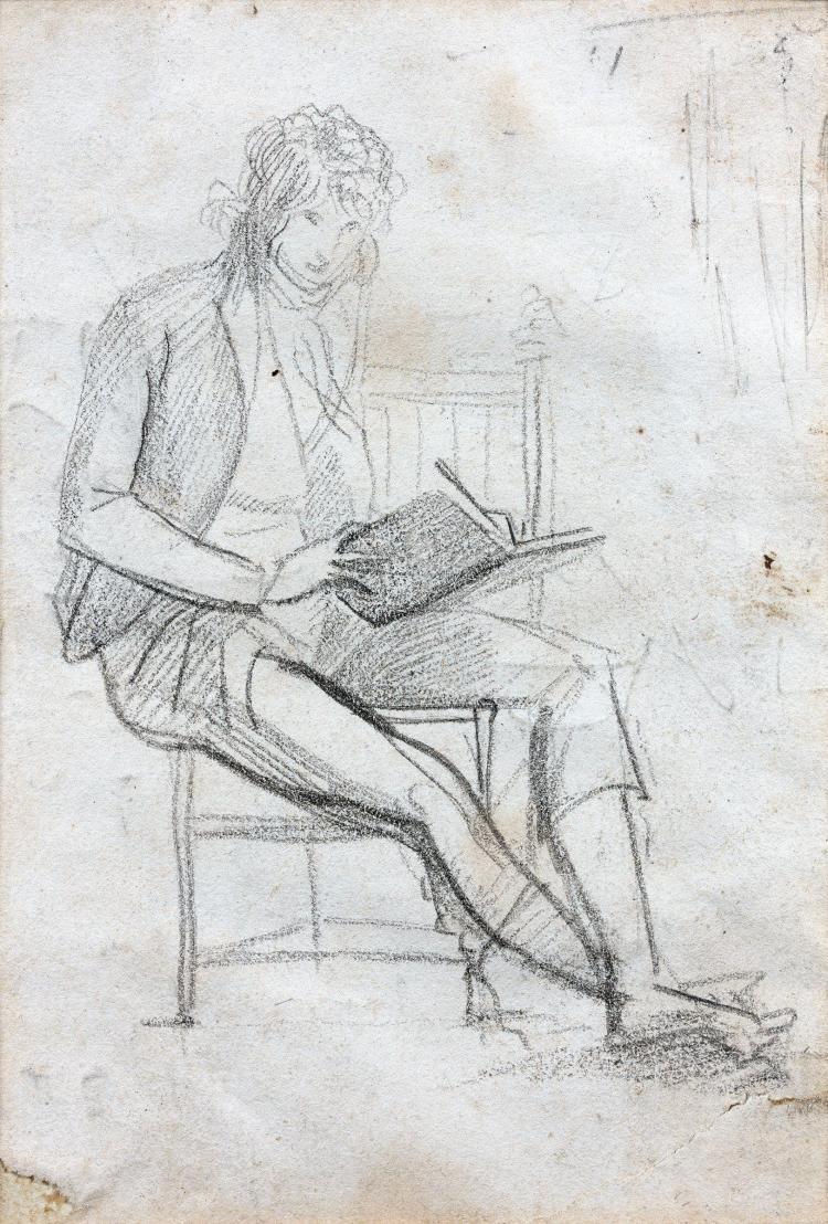François Pascal Simon, baron Gérard Rome, 1770 - Paris, 1837 Autoportrait assis dessinant Crayon noir