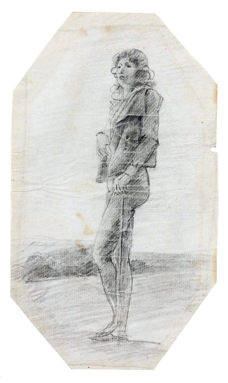 François Pascal Simon, baron Gérard Rome, 1770 - Paris, 1837 Autoportrait en pied de profil Crayon noir, sur une page de carnet de c...