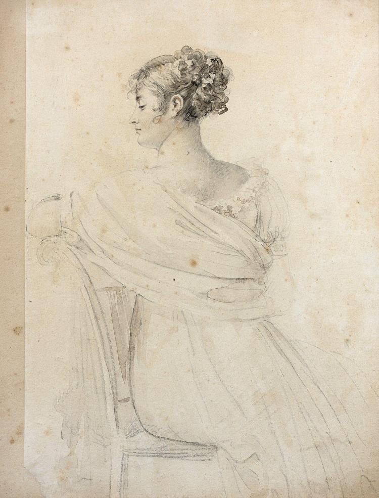 François Pascal Simon, baron Gérard Rome, 1770 - Paris, 1837 Portrait de Madame Récamier assise, vue de dos Crayon noir, lavis gris...