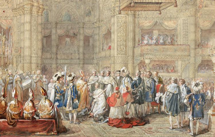 François Pascal Simon, baron Gérard Rome, 1770 - Paris, 1837 Le sacre de Charles X à Reims Aquarelle gouachée sur trait de crayon no...