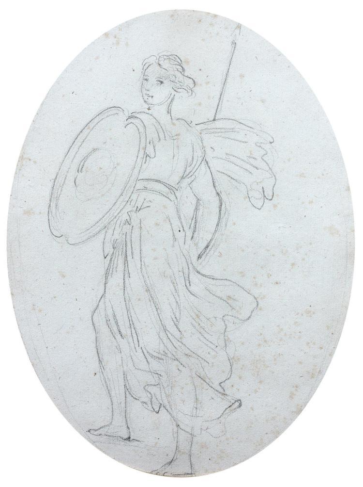 François Pascal Simon, baron Gérard Rome, 1770 - Paris, 1837 Minerve Crayon noir, à vue ovale