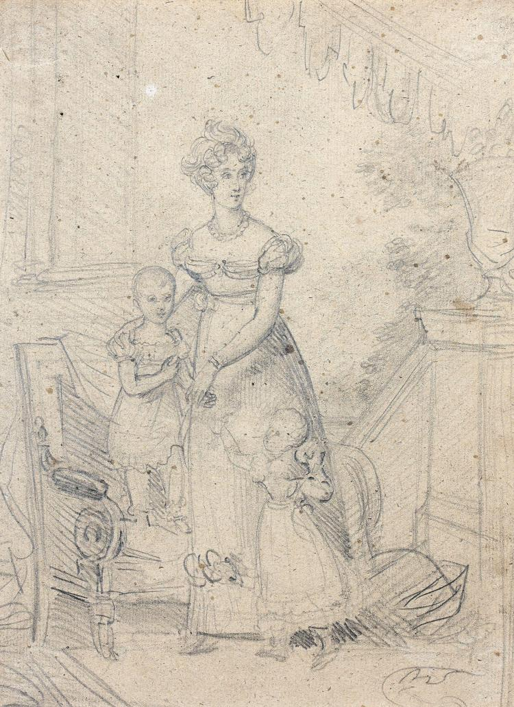 François Pascal Simon, baron Gérard Rome, 1770 - Paris, 1837 Portrait de Marie-Caroline de Bourbon-Sicile, duchesse de Berry, avec s...