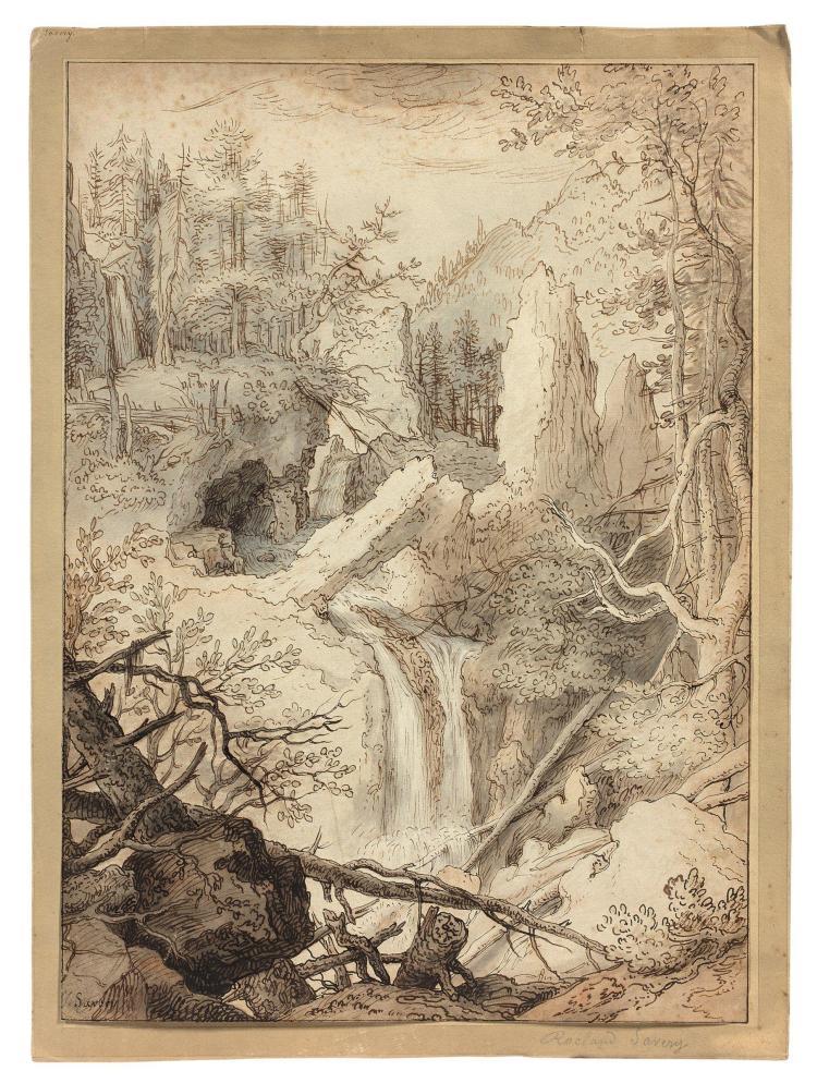 Attribué à Tobias Verhaecht Anvers, 1561 - 1631 Paysage rocailleux à la cascade Plume et encre brune, lavis brun et lavis gris