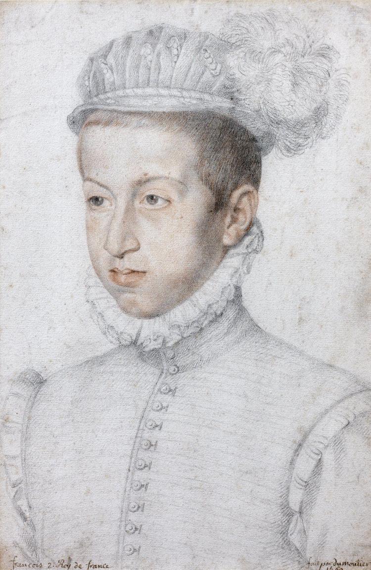 Ecole française de la fin du XVIe siècle Entourage de François Clouet Portrait d'un jeune homme de qualité Crayon noir, sanguine