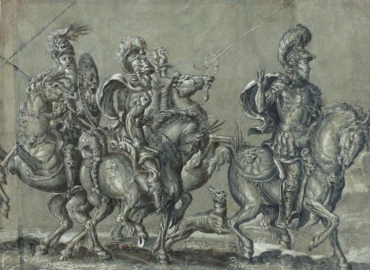 Ecole allemande du XVIe siècle Les cavaliers de l''Apocalypse Plume et encre noire, rehauts de blanc et de lavis brun sur papier ble..